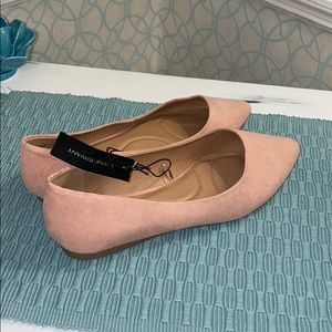 Suede Pink/Nude Pointed Toe Flats